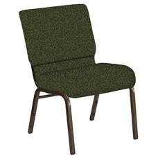 Embroidered 21''W Church Chair in Jasmine Fern Fabric - Gold Vein Frame