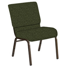 21''W Church Chair in Jasmine Fern Fabric - Gold Vein Frame
