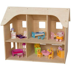 Wooden Two Story Doll House with 5 Rooms and Open Roof - 24