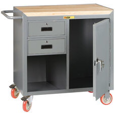 Mobile Bench Cabinet with 2 Drawers and 1 Locking Door and 1.75