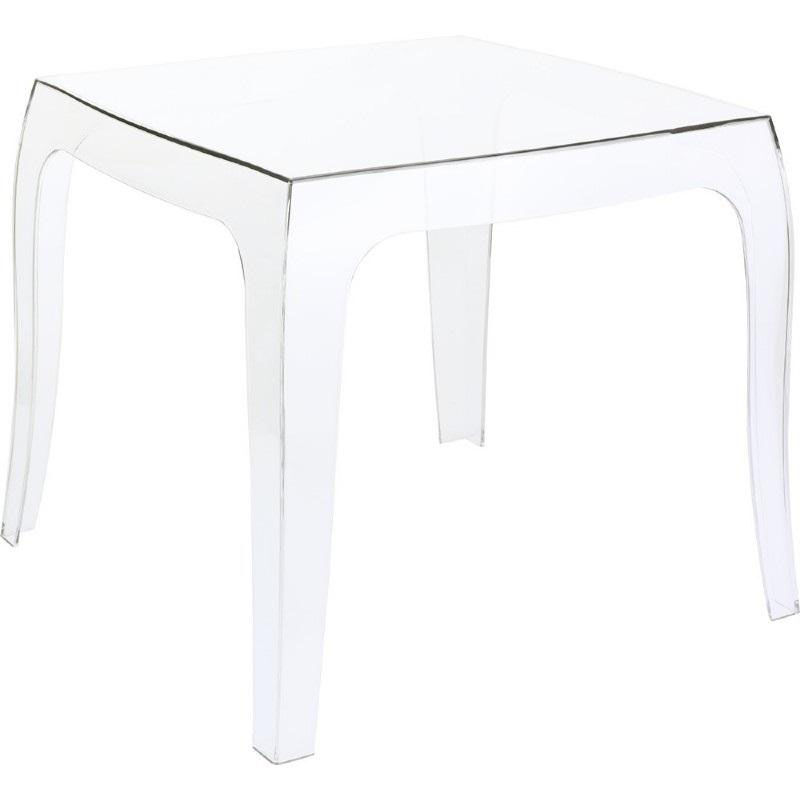 ... Our Queen Outdoor Polycarbonate Stacking Square Side Table   Transparent  Clear Is On Sale Now.