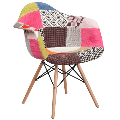 Our Alonza Series Milan Patchwork Fabric Chair with Wooden Legs is on sale now.