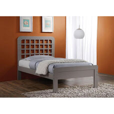 Lyford Wooden Bed with Window Pane Headboard - Twin - Gray