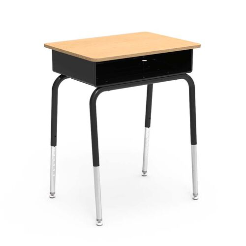 Quick Ship 785 Series Fusion Maple Laminate Top Student Desk with Black Open Front Metal Book Box and Frame - 18