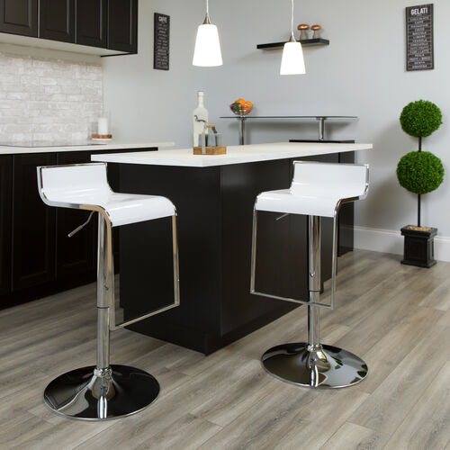 Contemporary White Plastic Adjustable Height Barstool with Chrome Drop Frame