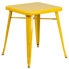 """Commercial Grade 23.75"""" Square Yellow Metal Indoor-Outdoor Table"""