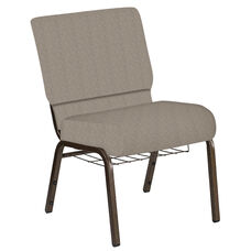 Embroidered 21''W Church Chair in Bonaire Taupe Fabric with Book Rack - Gold Vein Frame