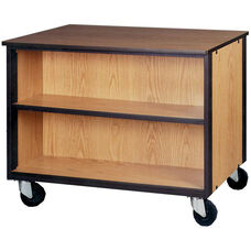 Mobile Double Faced Low Storage Cabinet w/1 Adjustable Shelf Per Side