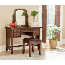 Inspired By Bassett Modern Mission Vanity Mirror and Bench Set