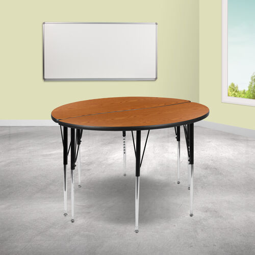 """2 Piece 47.5"""" Circle Wave Collaborative Oak Thermal Laminate Activity Table Set - Standard Height Adjustable Legs"""