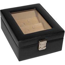 4 Slot Eyeglass Box - Top Grain Nappa Leather - Black