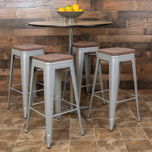 "Our 30"" High Metal Indoor Bar Stool with Wood Seat in Silver - Stackable Set of 4 is on sale now."