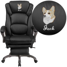 Embroidered High Back Black LeatherSoft Executive Reclining Ergonomic Office Chair with Outer Lumbar Cushion and Arms