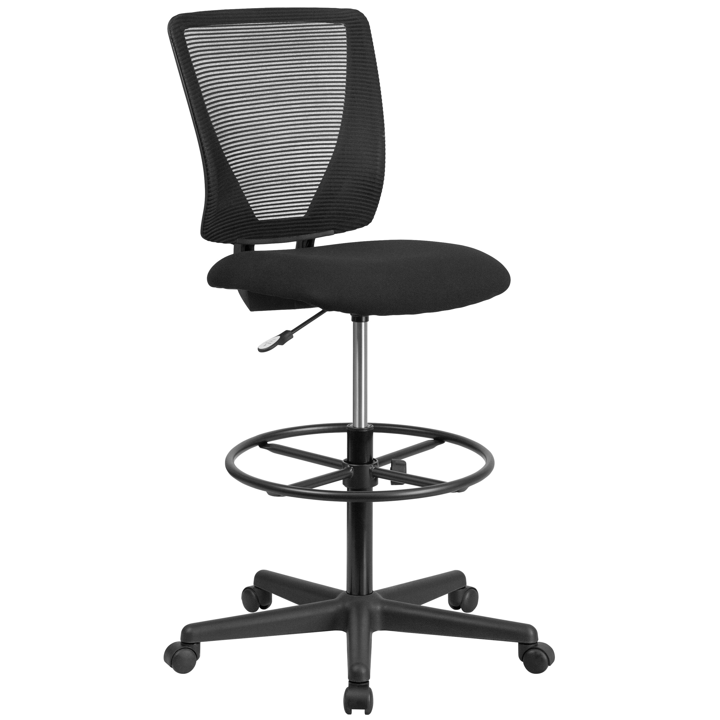 Superbe Our Ergonomic Mid Back Mesh Drafting Chair With Black Fabric Seat And  Adjustable Foot Ring