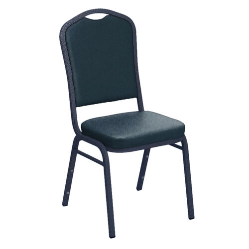 Our Embroidered Crown Back Banquet Chair in E-Z Vinyl - Silver Vein Frame is on sale now.