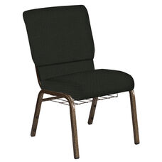 18.5''W Church Chair in Interweave Black Fabric with Book Rack - Gold Vein Frame
