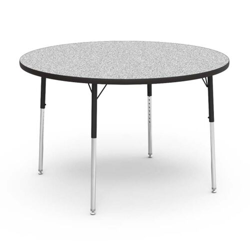 Our Quick Ship 4000 Series Adjustable Height Round Laminate Activity Table with Gray Nebula Top - 48