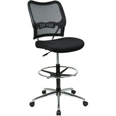 Space Deluxe Air Grid® Back Drafting Chair with Chrome Finish Footring and Base - Black