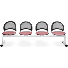 Moon 4-Beam Seating with 4 Fabric Seats - Coral Pink