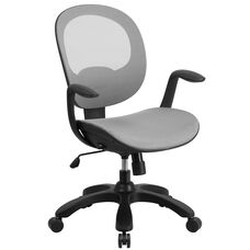 Mid-Back Transparent White Mesh Swivel Task Chair with Seat Slider, Ratchet Back and Arms