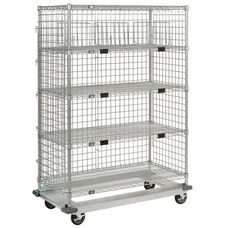 HeavyDuty Poly-Z-Brite - 5 Wire Shelves Exchange & Linen Transport Truck - 24