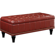 Inspired by Bassett Caldwell Square Leather Storage Ottoman - Crimson Red