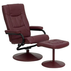 Contemporary Multi-Position Recliner and Ottoman with Wrapped Base in Burgundy Leather