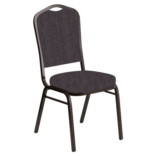 Our Embroidered Crown Back Banquet Chair in Sammie Joe Chocolate Fabric - Gold Vein Frame is on sale now.