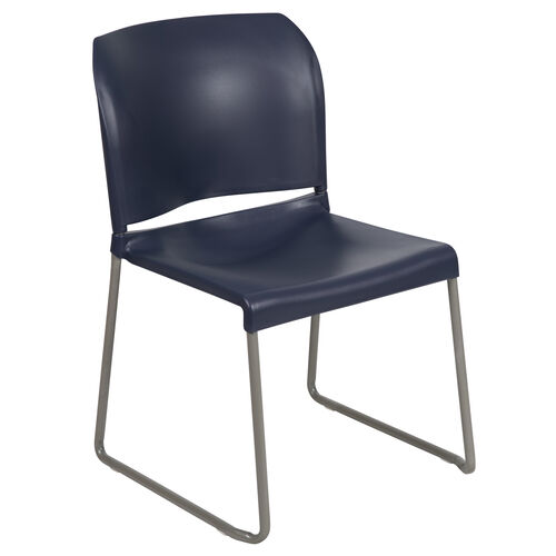 Our HERCULES Series 880 lb. Capacity Navy Full Back Contoured Stack Chair with Gray Powder Coated Sled Base is on sale now.
