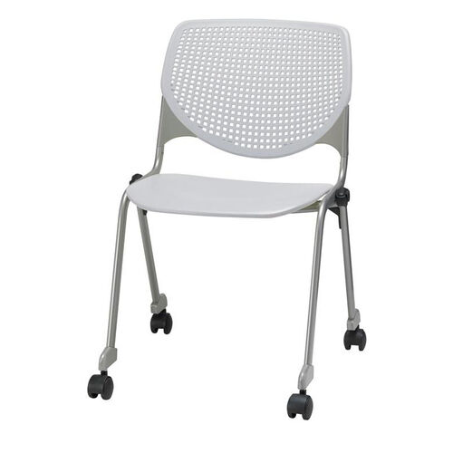 Our 2300 KOOL Series Stacking Poly Silver Steel Frame Armless Chair with Perforated Back and Casters - Light Grey is on sale now.