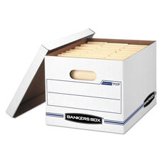 Bankers Box® STOR/FILE Storage Box - Letter/Legal - Lift-off Lid - White/Blue - 12/Carton