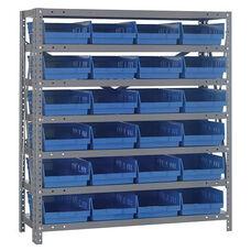 18''D 7 Shelf Unit with 24 Bins - Blue