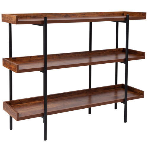 """Our Mayfair 3 Shelf 35""""H Storage Display Unit Bookcase with Black Metal Frame in Rustic Wood Grain Finish is on sale now."""