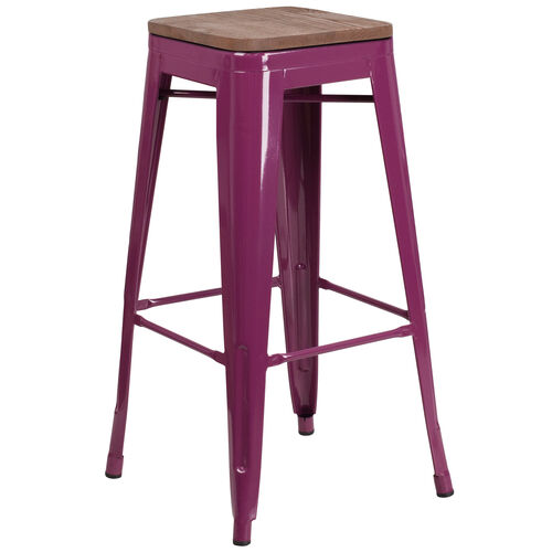 """Our 30"""" High Backless Purple Barstool with Square Wood Seat is on sale now."""
