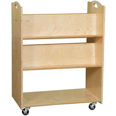 Contender Mobile Double Sided Library Cart with Four Sloped Shelves - Assembled - 30