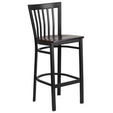 Black School House Back Metal Restaurant Barstool with Walnut Wood Seat
