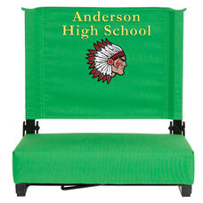 Embroidered Grandstand Comfort Seats by Flash with Ultra-Padded Seat in Bright Green