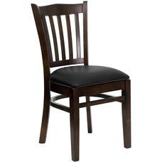 Walnut Finished Vertical Slat Back Wooden Restaurant Chair with Black Vinyl Seat