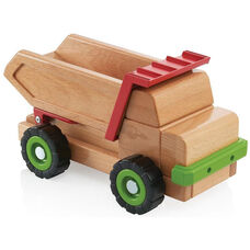 Large Beechwood Big Block Dump Truck with Moveable Bed for Loading and Unloading - 14.75