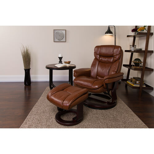 Our Contemporary Multi-Position Recliner and Curved Ottoman with Swivel Mahogany Wood Base in Brown Vintage LeatherSoft is on sale now.