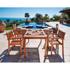 Malibu Outdoor 5 Piece Wood Dining Set with Rectangular Table and 4 Stacking Armchairs