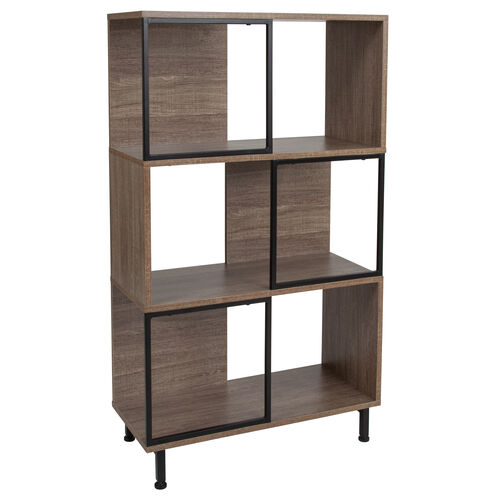 """Our Paterson Collection 3 Shelf 26""""W x 45.25""""H Bookcase and Storage Cube in Rustic Wood Grain Finish is on sale now."""