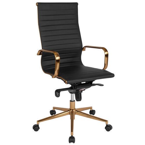 Our High Back Black Ribbed Leather Executive Swivel Office Chair with Gold Frame, Knee-Tilt Control and Arms is on sale now.