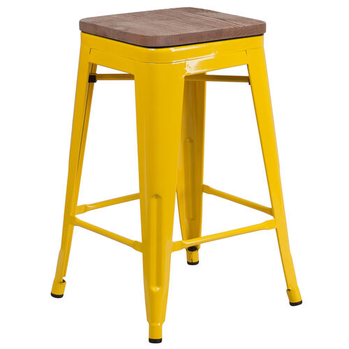 "Our 24"" High Backless Yellow Metal Counter Height Stool with Square Wood Seat is on sale now."