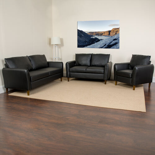 Milton Park Upholstered Plush Pillow Back Chair, Loveseat and Sofa Set in Black LeatherSoft