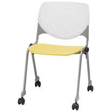2300 KOOL Series Stacking Poly Silver Steel Frame Armless Chair with White Perforated Back and Casters - Yellow Seat