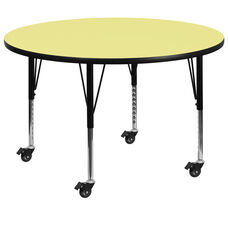 Mobile 48'' Round Yellow Thermal Laminate Activity Table - Height Adjustable Short Legs