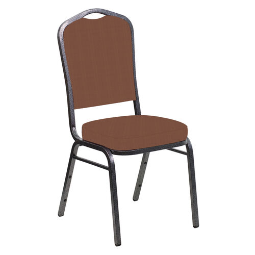 Our Embroidered Crown Back Banquet Chair in Illusion Orange Spice Fabric - Silver Vein Frame is on sale now.