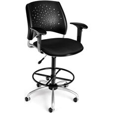 Stars Swivel Stool with Arms - Black