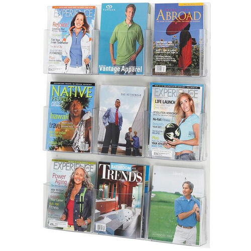 Our Clear2c™ Nine Magazine Display with Break Resistant Plastic Pockets - Clear is on sale now.